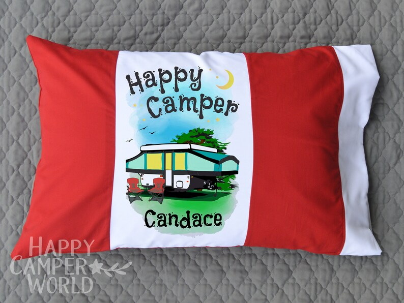 Happy Camper Personalized Pillowcase, Custom Pillow Case, Camping  Pillowcase, Personalized Gift, Pop-Up Trailer Decor, Red and White