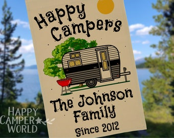 """Personalized """"Happy Campers"""" Camping Flag with Vintage Camper and 3 Lines of Your Custom Text, Tan Fabric"""