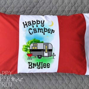 Happy Camper Pillowcase \u2022  Personalized Camp Pillow case \u2022 Decorative Personalized Pillowcase \u2022 Camping Gear \u2022 Camp Birthday Party Gift