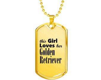 Golden Retriever - 18k Gold Finished Luxury Dog Tag Necklace, Dog Tag Pendant