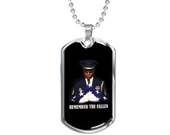 Remember The Fallen - Luxury Dog Tag Necklace, Memorial Day, Dog Tag Pendant