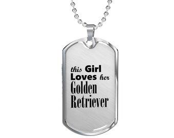 Golden Retriever - Luxury Dog Tag Necklace, Dog Tag Pendant