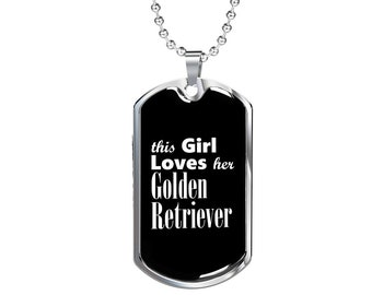 Golden Retriever v2 - Luxury Dog Tag Necklace, Dog Tag Pendant