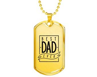 Best Dad Ever - 18k Gold Finished Luxury Dog Tag Necklace, Dog Tag Pendant