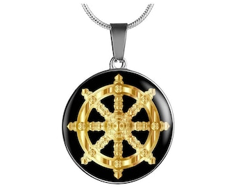 Dharma wheel pendant buddhism symbol stainless steel jewelry dharma wheel necklace golden dharma wheel luxury necklace buddhism gautama buddha aloadofball Gallery