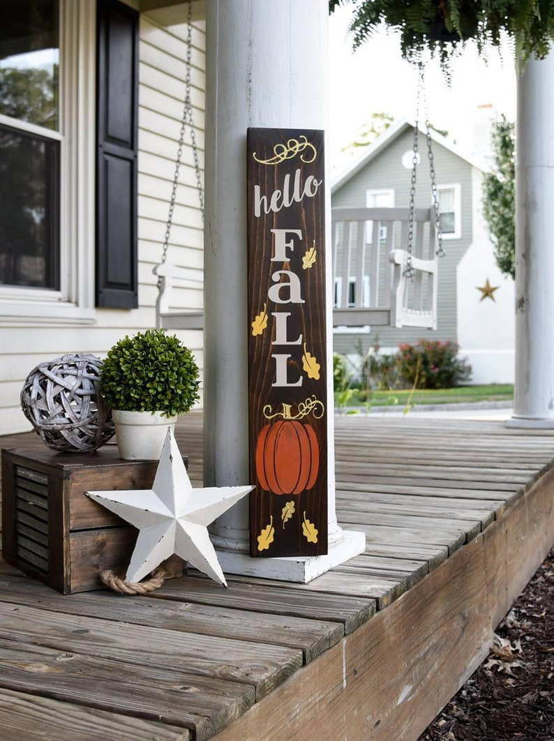 Hello Fall porch sign  I  Fall sign I  Fall decor I  Porch Brown stain