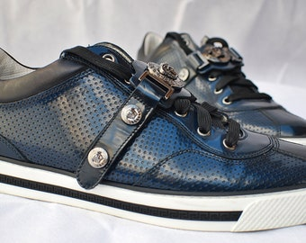 358206722164 Versace Medusa Designer Gents Blue Leather Trainers Made In Italy Size UK  8-Wow!