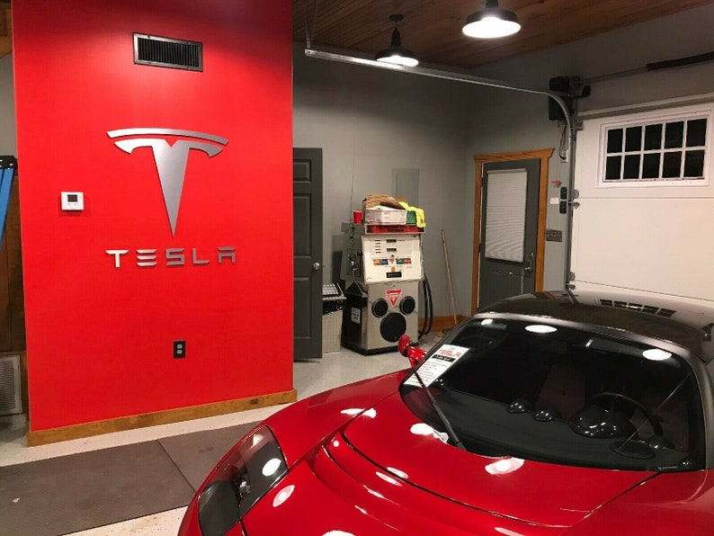 Tesla Letters and Logo Combo Sign 3 feet wide 39 inches ...