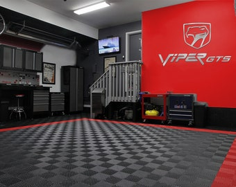 Viper GTS Logo and Sneaky Pete Combo Garage Sign 6 Feet Long Brushed Silver