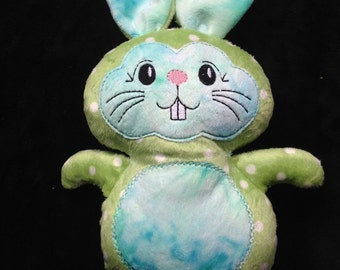 Green Bunny Soft Minky Cuddly plushie, stuffie, plush, plush animal, stuffed animal