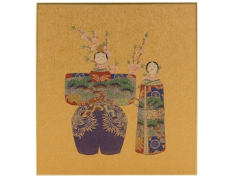 hina doll shikishi board, japanese art print, japanese lucky charm, japanese interior