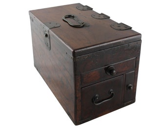 japanese box, antique wood box, japanese antiques, calligraphy box, suzuribako, accounting box