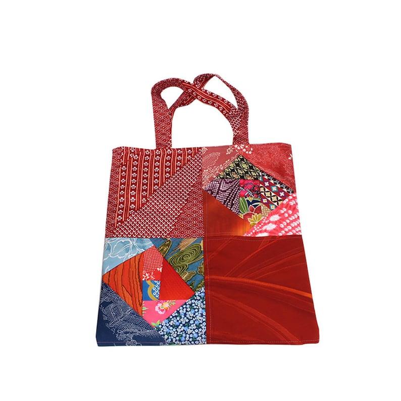 bffeeaa42869 Vintage japanese kimono tote bag handmade kimono patchwork
