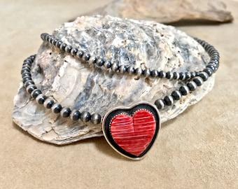 Navajo pearl Kingman turquoise heart pendant southwestern jewelry sterling silver 925 multi strand 4mm 5mm
