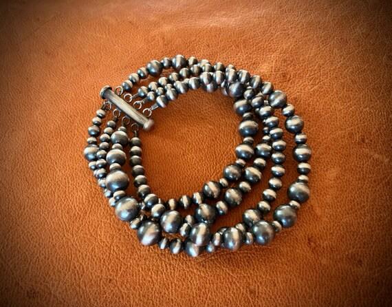 925 Sterling Silver Multi-strand Pearl Bracelet