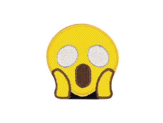 The Scream Face Screaming in Fear Emoji Embroidered Iron On Patch Applique  - FREE SHIPPING