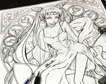 Printable Coloring Pages Sailor Moon Luna Chibi Moon Fan Art Etsy