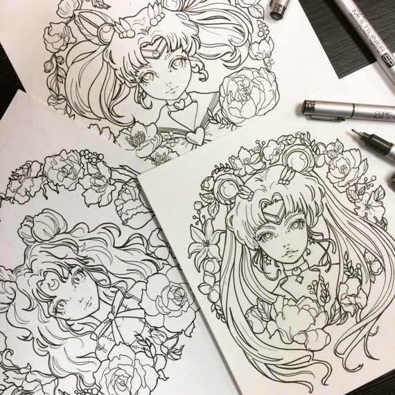 Printable Coloring Pages Sailor Moon Luna Chibi Moon Fan Art | Etsy