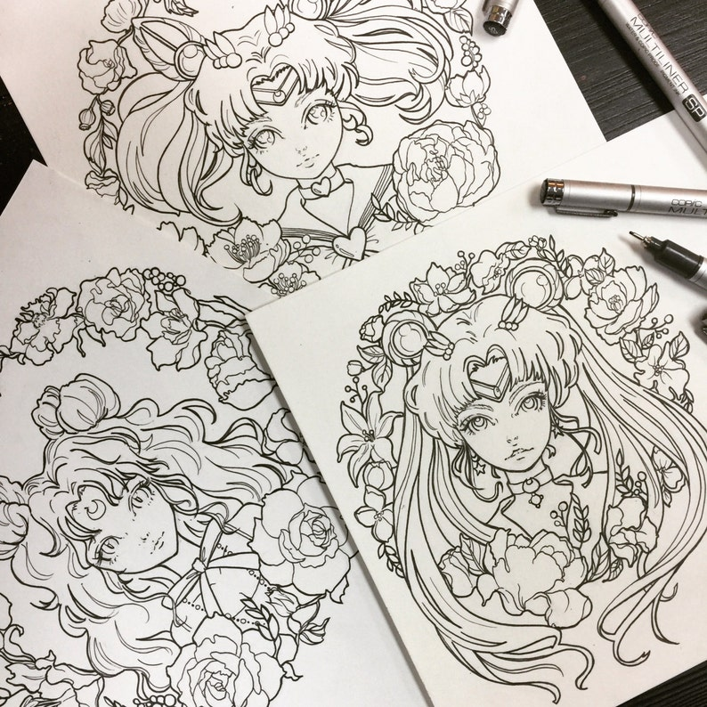 Printable Coloring Pages Sailor Moon Luna Chibi Moon Fan Art Etsy