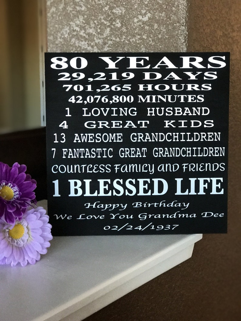 80 Year Old Birthday Wood Sign Can Be Customized To Any Age