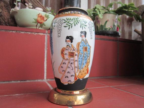 Geisha Vase Vintage 1920 30s Japanese Flowers Porcelain Etsy