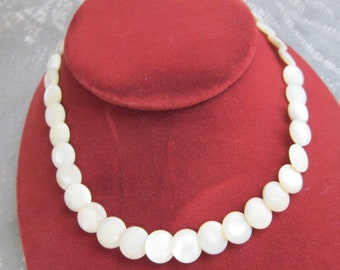 Mother of Pearl Necklace Vintage 1960's Mid Century Button Style Hand Carved Shell Boho Hippie Gypsy Choker Screw Closure Jewelry