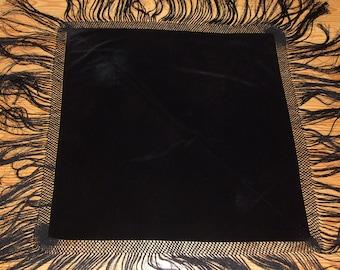 Stunning Antique Art Nouveau Black Fringe Shawl/Beautiful Black Shawl, Long  Handmade Silk Fringe Shawl/Rare Chateau Decor Velvet Tablecloth