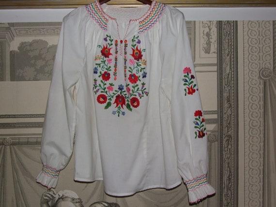 STUNNING Vintage c.1990s Hungarian KALOCSA White … - image 10