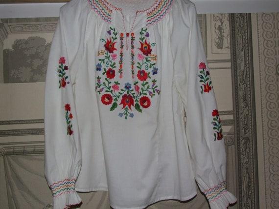STUNNING Vintage c.1990s Hungarian KALOCSA White … - image 1