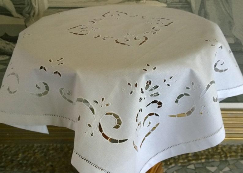 Polish Vintage White Linen Square Tablecloth  Polish Home Decor-Handmade Richelieu TableclothBeautiful Polish Hand Embroidered Table Linen