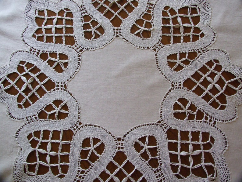 Beautiful French Vintage c.60s Handmade Lace White Cotton Tablecloth  Lovely French Decorative Table Linen  Round Handmade Lace Tablecloth