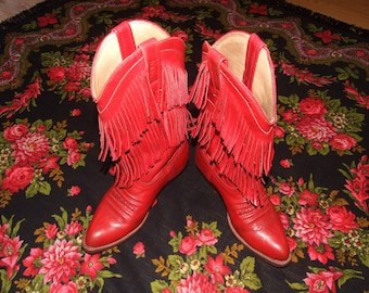 Fringe Red Cowgirl Boots/Charming Authentic Vintage c.1990s. Venezuelan LOBLAN Red Country Boots/Red Fringe 38 Size Western Boho Chic Boots