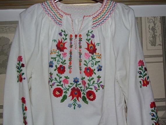 STUNNING Vintage c.1990s Hungarian KALOCSA White … - image 6