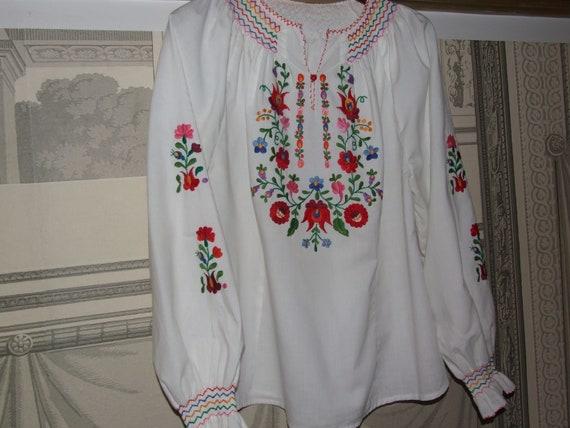 STUNNING Vintage c.1990s Hungarian KALOCSA White … - image 8