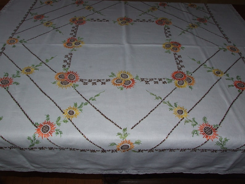 Beautiful Polish Vintage Hand Embroidered Multicolor Floral White TableclothBeautiful Home Decor Table LinenPolish Floral Linen Tablecloth