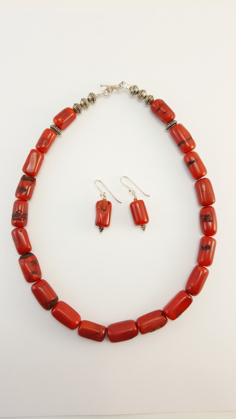 Red Coral Necklace and Earring Set Chunky Red Branch Coral Beads J23
