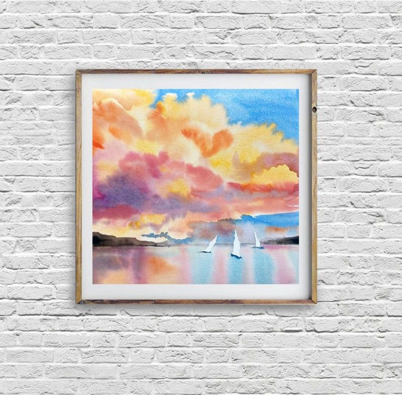 bd63028f8 Ocean painting Sea Watercolor Landscape Sunset Colorful | Etsy