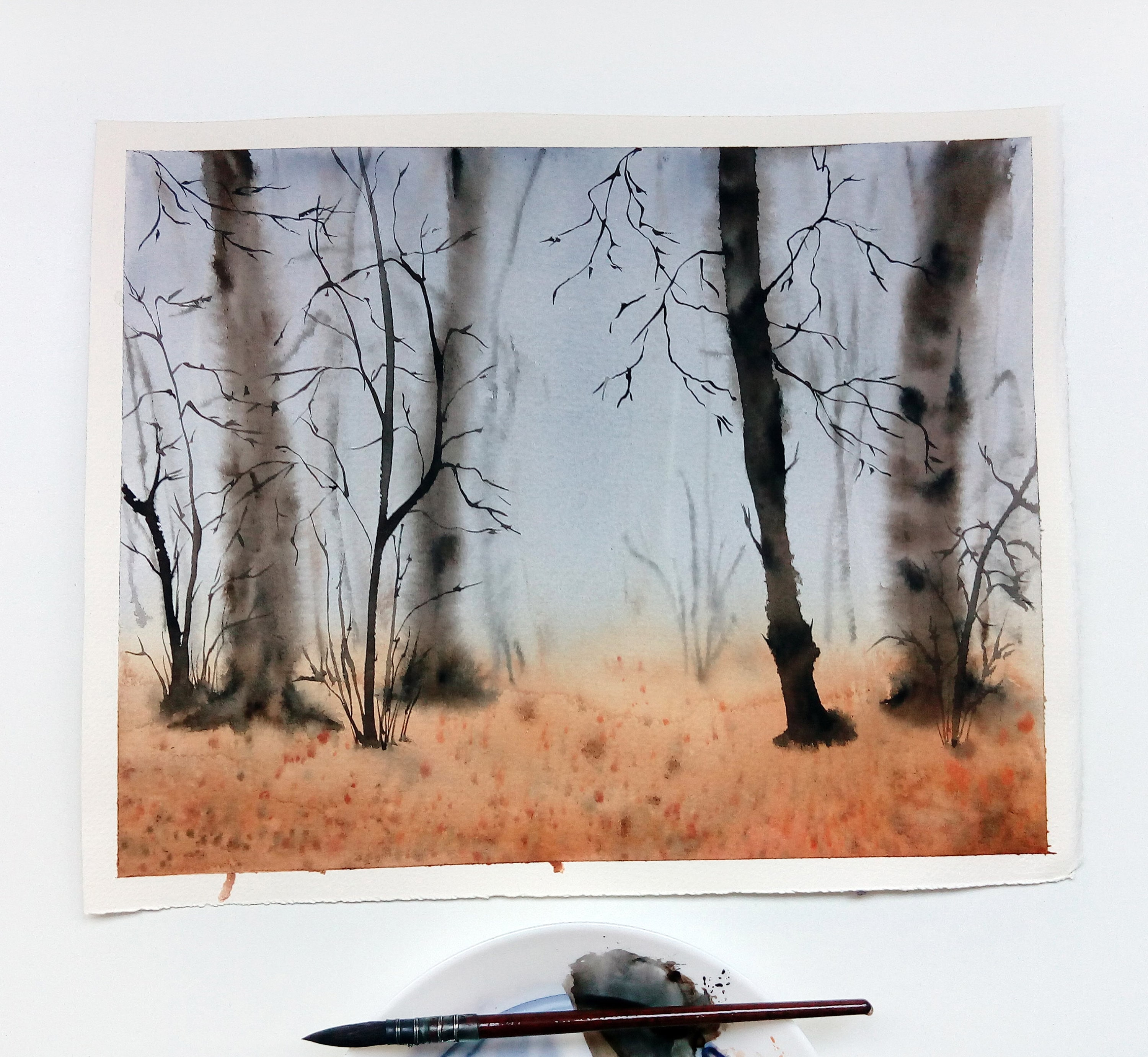 Watercolor Forest Landscape Forest Wall Art Trees Watercolor Etsy