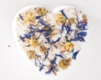 Cornflower Chamomile Bath Bomb / Heart Bath Bomb/ Organic Bath Bomb / Bath fizzie / Bath Fizzy / Floral Bath Bomb / Vegan Bath Bomb