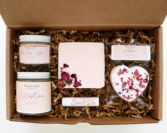 Wildflower Natural Bath Gift Set, Best Bath Box, Spa Gift Set, Bath Gift Box, Organic Bath Set, Natural Spa Set, All Natural Skin Care