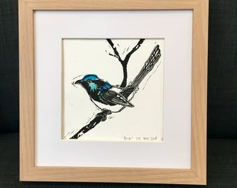 Blue wren - Lino cut print with blue chine-collé (unframed print only)