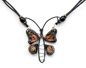 Weird Monarch Butterfly Jewelry, Abstract Insect Pendant Necklace, Monarch Lover Gift