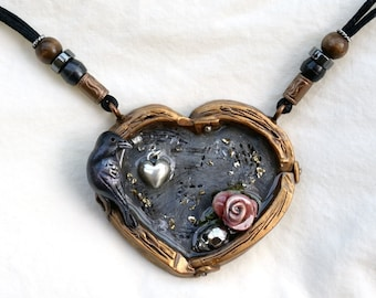 Gothic Heart Raven Rose Pendant Necklace, Bird Skull and Heart Charm Chunky Big Statement Jewelry