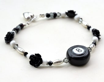 8 Ball Black Roses Bracelet, Beaded Stretchy Jewelry, Woman Billiards Player Gift