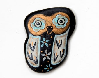 Painted Owl Rock, Flat Decorative Folk Art Bird Stone, Owl Lover Gift