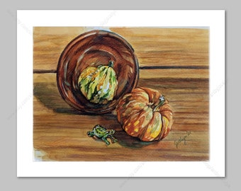 Fall Watercolour Original Painting from Life Mat Included, Still Life with Gourd, Pumpkin and Glass Frog Figurine, Loose Painterly Style Art