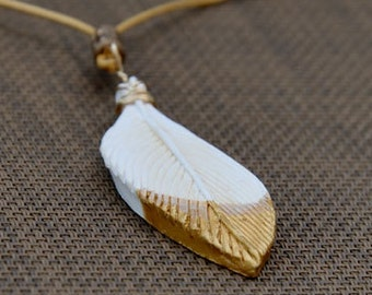 Feather Pendant, Understated White and Gold Paint Dipped White Feather, Elegant Simple Abstract Bird Feather Necklace, Clay Jewellery