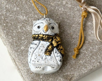White Snowy Owl Christmas Ornament, Small Primitive Bird Hanging Figurine Gift Topper