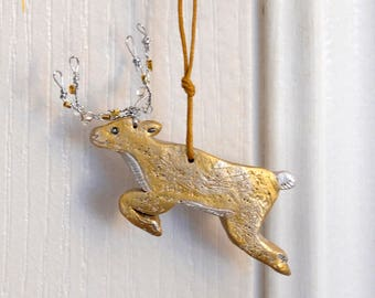 Primitive Reindeer Ornament, Christmas Ornament, Polymer Clay and Wire with Glass Beads on Antlers Gold Painted Animal Gift Topper