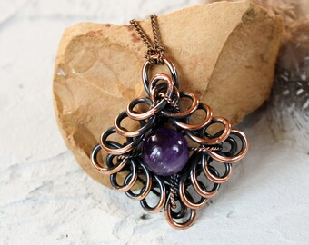 Feburary birthstone necklace for girlfriend anniversary gift amethyst pendant amethyst copper jewelry Wire wrapped necklace purple gemstone